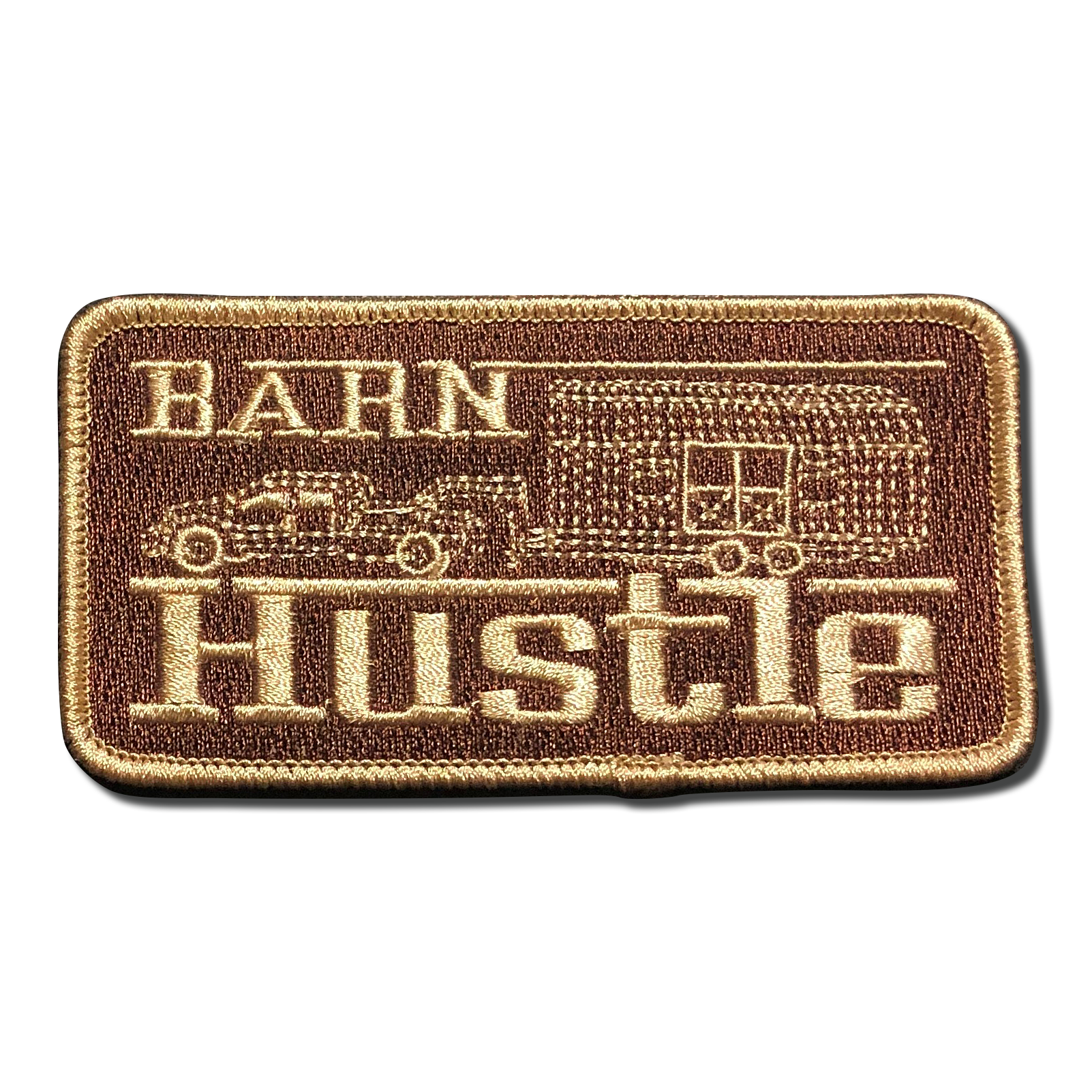 Barn Hustle Patch in Brown and Gold. Photo Gallery Image from A-B Emblem.