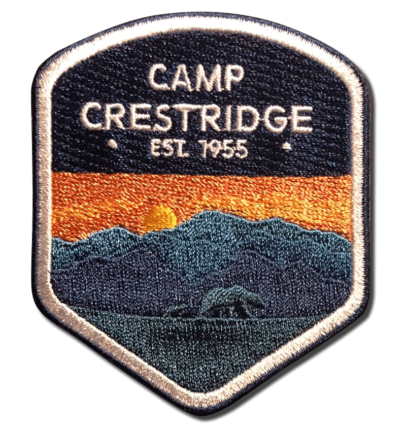 A-B Emblem Photo Gallery image. Camp Crestridge Est. 1955 Patch - mountains with bear imagery.