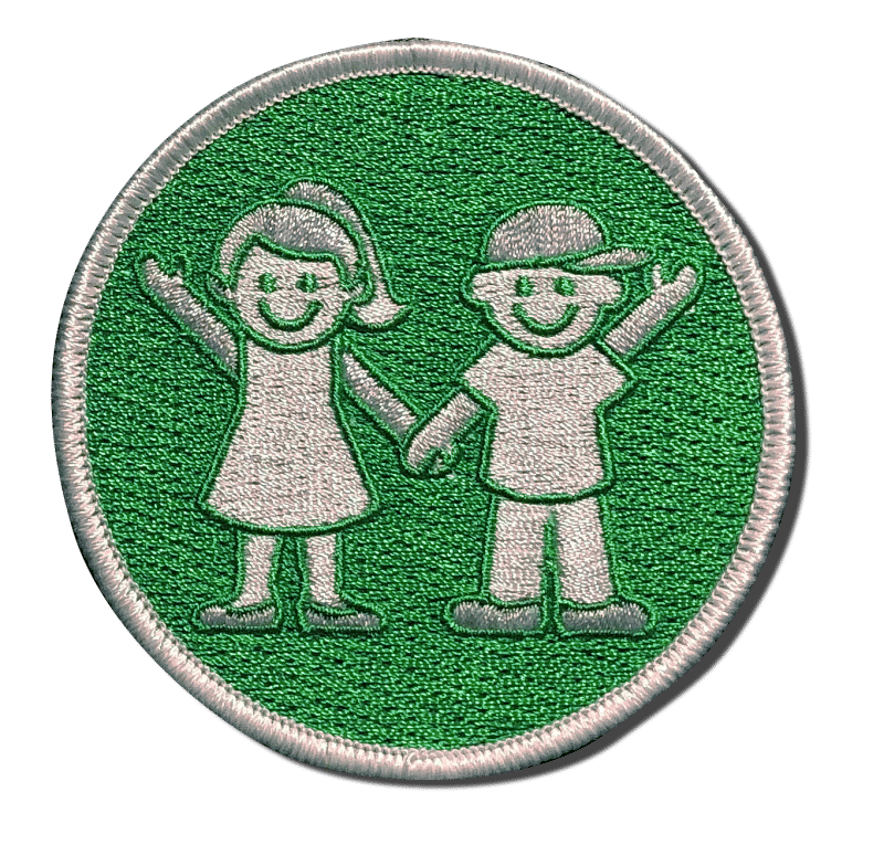 Girl and Boy Green Embroidered Patch. A-B Emblem Photo Gallery image.