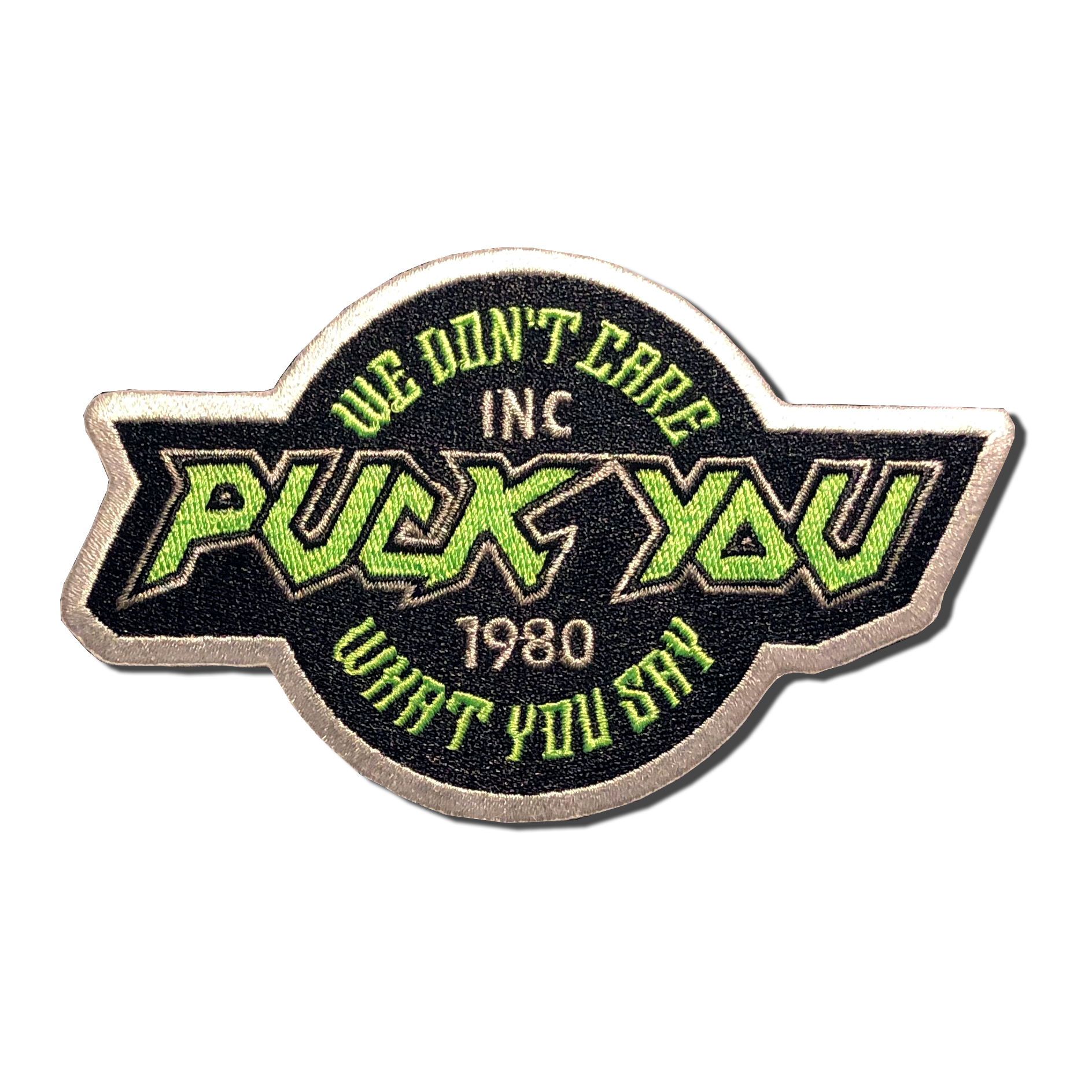 Puck You embroidered patch. We don't care what you say. A-B Emblem photo gallery image.