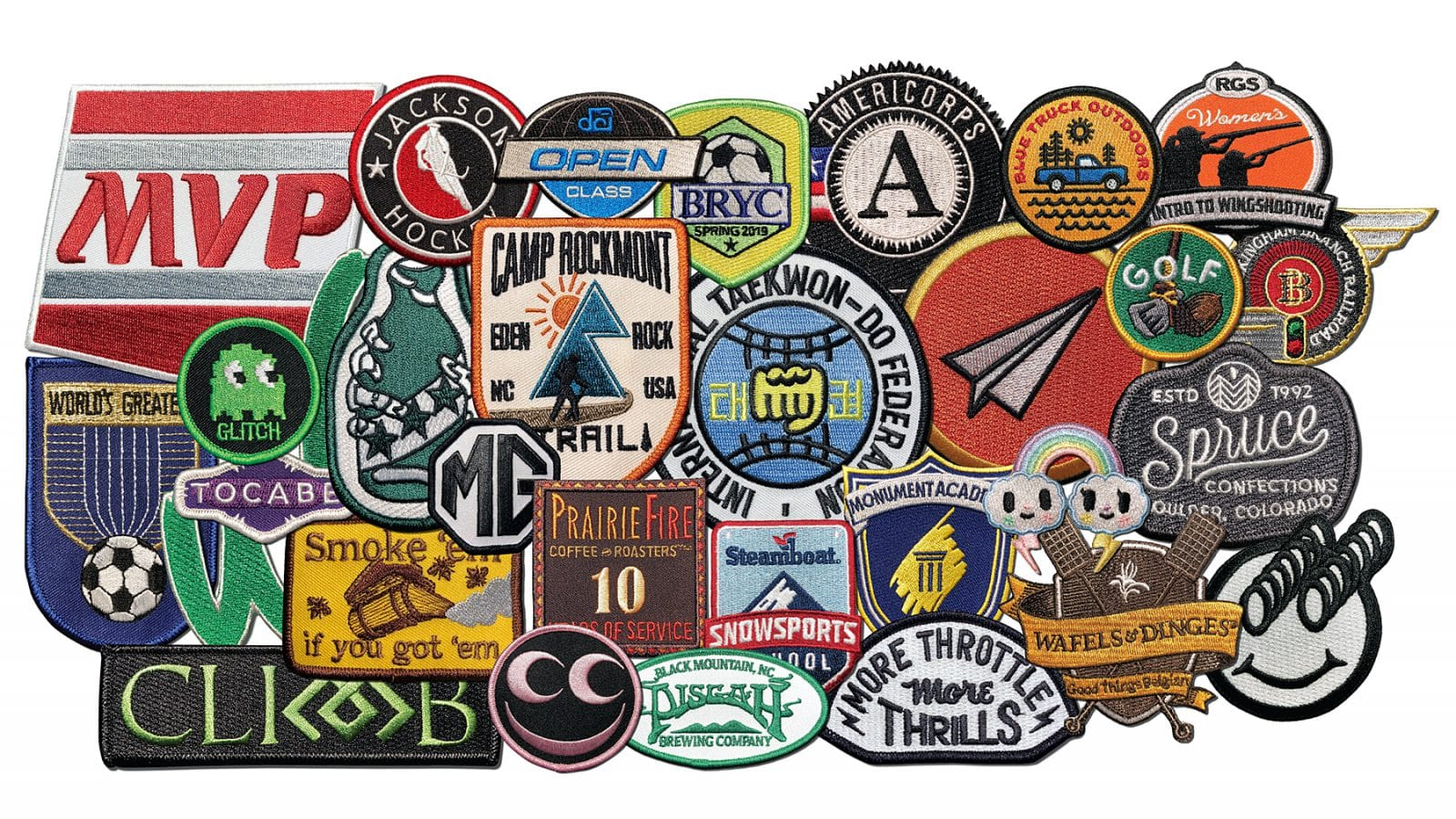 Custom Patch Photo Gallery image. Patch collage showing many styles, types, colors and sizes of patches made by A-B Emblem for actual clients.
