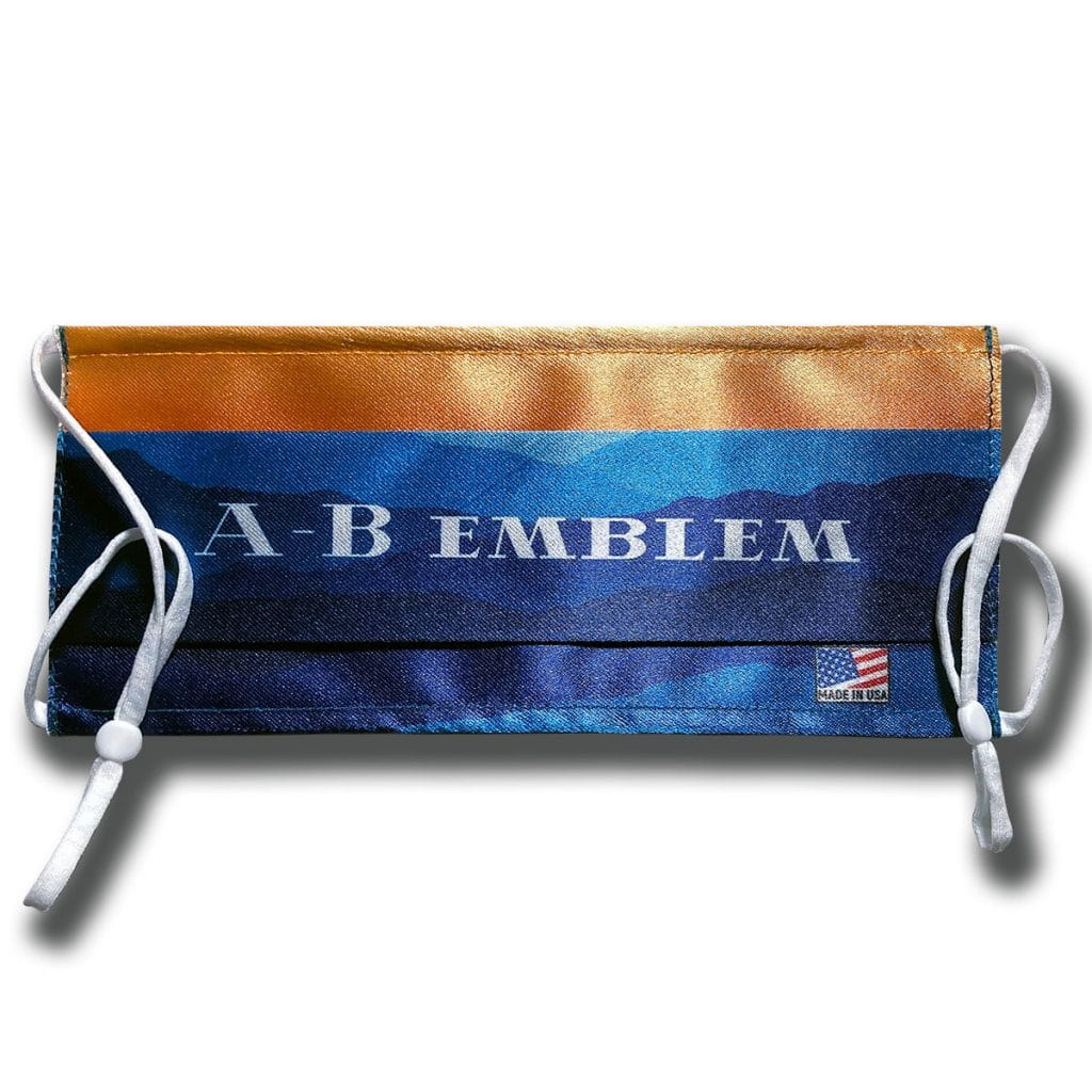 A-B Emblem Custom Printed Logo Cloth Face Mask folded flat