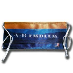 A-B Emblem Custom Printed Logo Cloth Face Mask folded flat