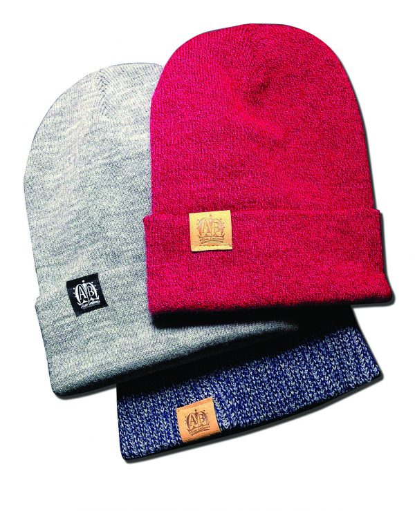 Custom folds from A-B Emblem sewn to beanies.