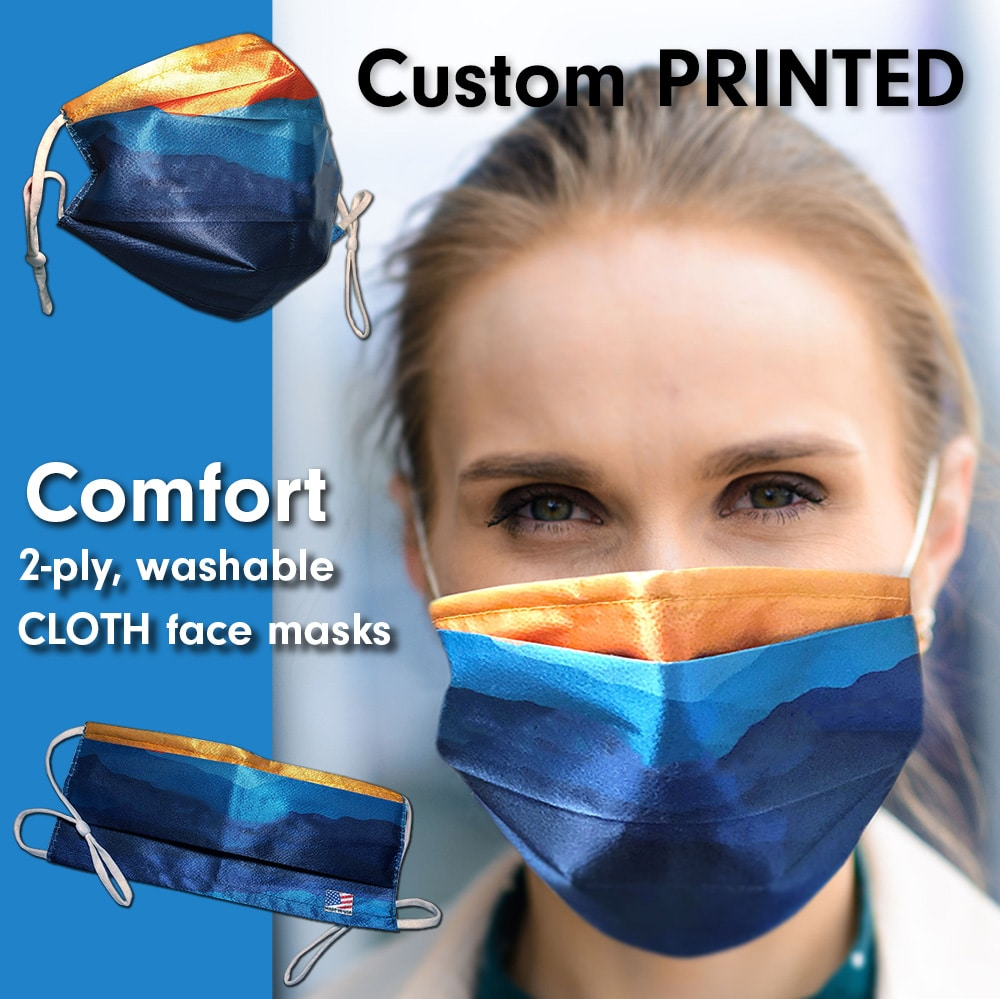A-B Emblem Cloth Face Masks composite image showing a woman wearing a mask and detail shots of our masks.